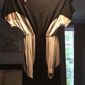 Adjustable Tie Waist Color Block Dress